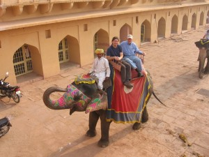 David takes his first elephant ride in India last December