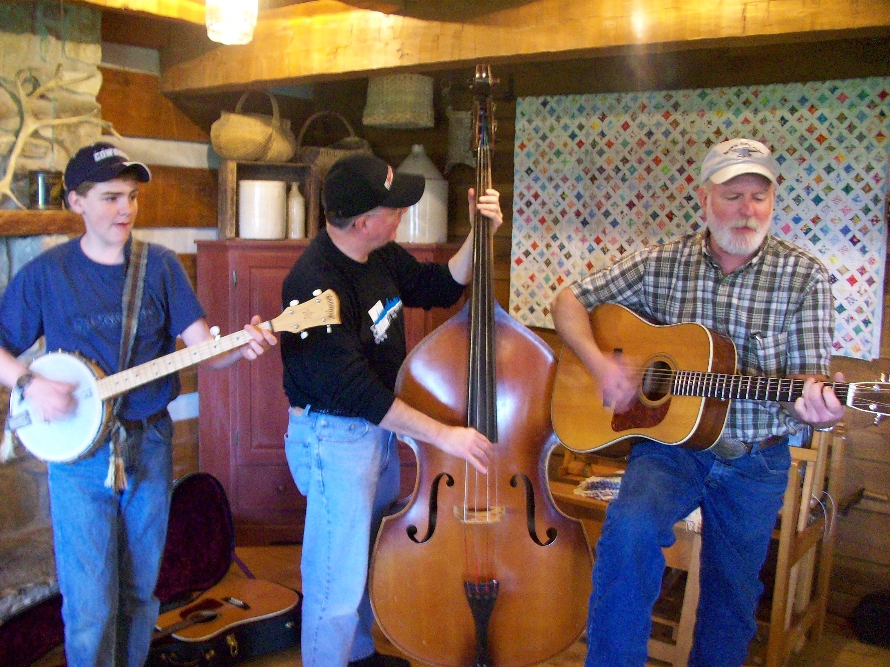 Playing bluegrass with my nephew Joseph (banjo) and brother Joe (guitar) at Joe's house in March