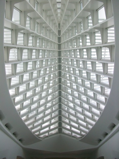 Calatrava's Milwaukee Art Museum View of the Closed Sunscreen from Inside