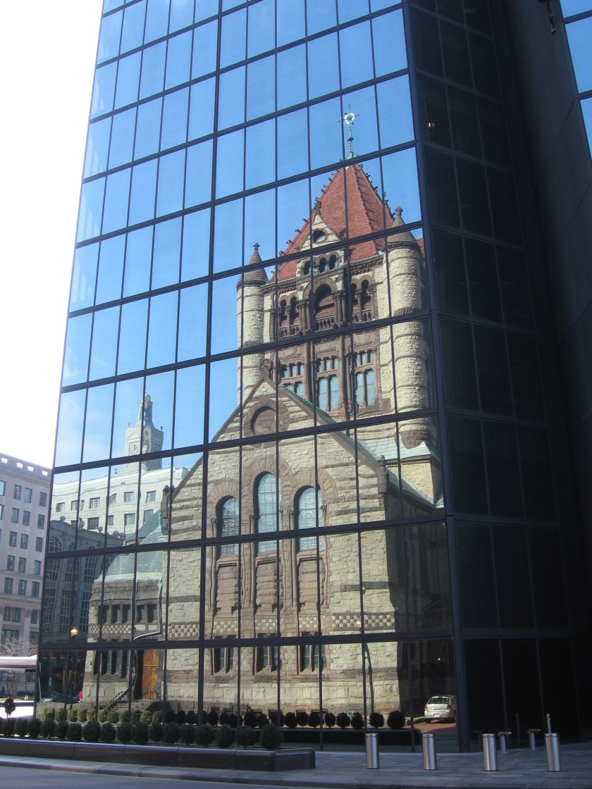 Trinity Church Boston reflected in the Pei and Cobb Hancock Tower