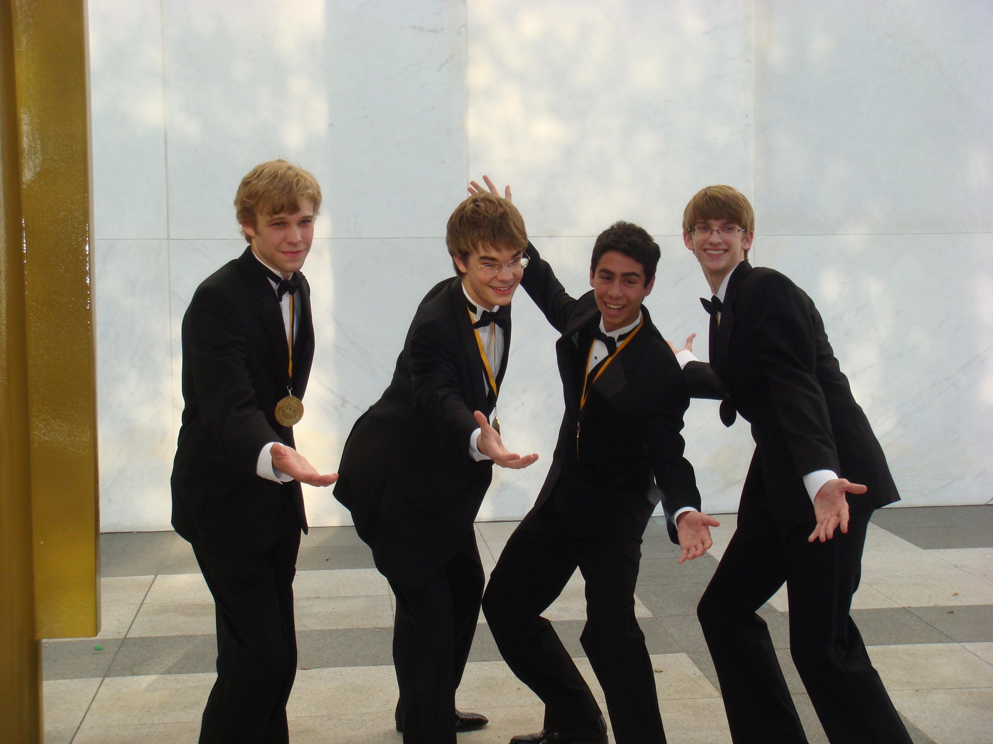 "The ""Music Man"" Barbershop Quartet at the Cappies (Andrew on the right) - June 2009"
