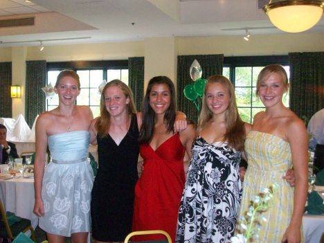 Claire (left) and her Swim Team Friends at the 2009 Gator Swim Team Banquet