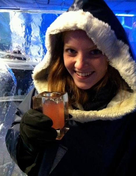 Claire in Stockholm Ice Bar 2012