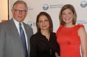 DJB with NTHP colleague Leigh Ivey and Trustee Gloria Estefan - the new spokesperson for the preservation of the Miami Marine Stadium