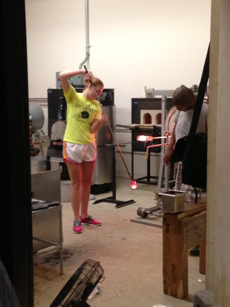Claire glassblowing at Glen Echo