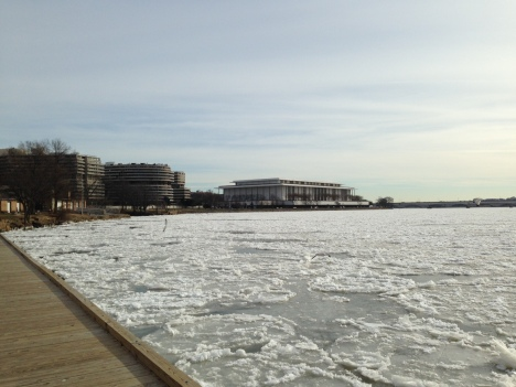 The Potomac River, looking toward the Watergate, Noon on January 8, 2014