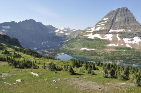 Hidden Lake looking toward Gunsight Mountain