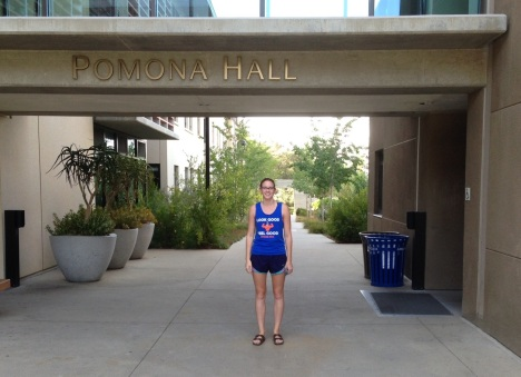Claire at the entrance to Pomona Hall