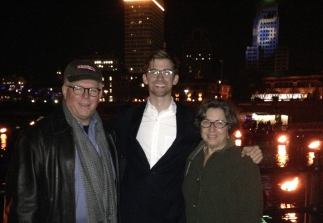 Candice, Andrew and David at WaterFire in Providence October 25, 2014