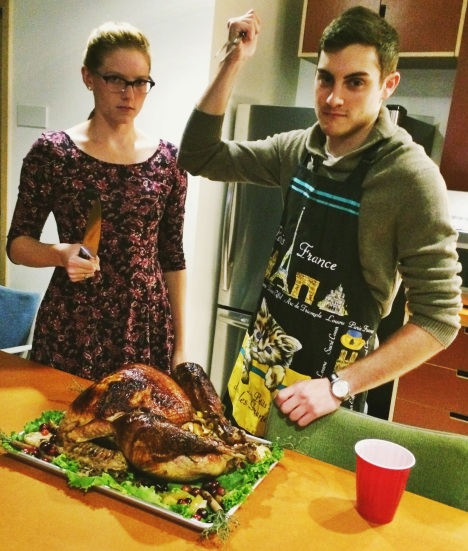Claire and Jason prepare the turkey