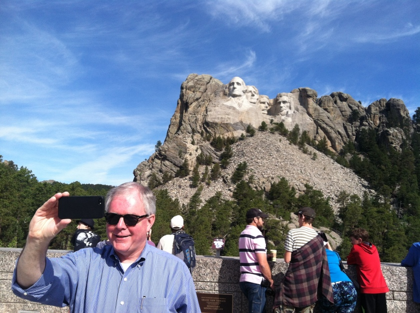 Taking my first selfie at Mount Rushmore
