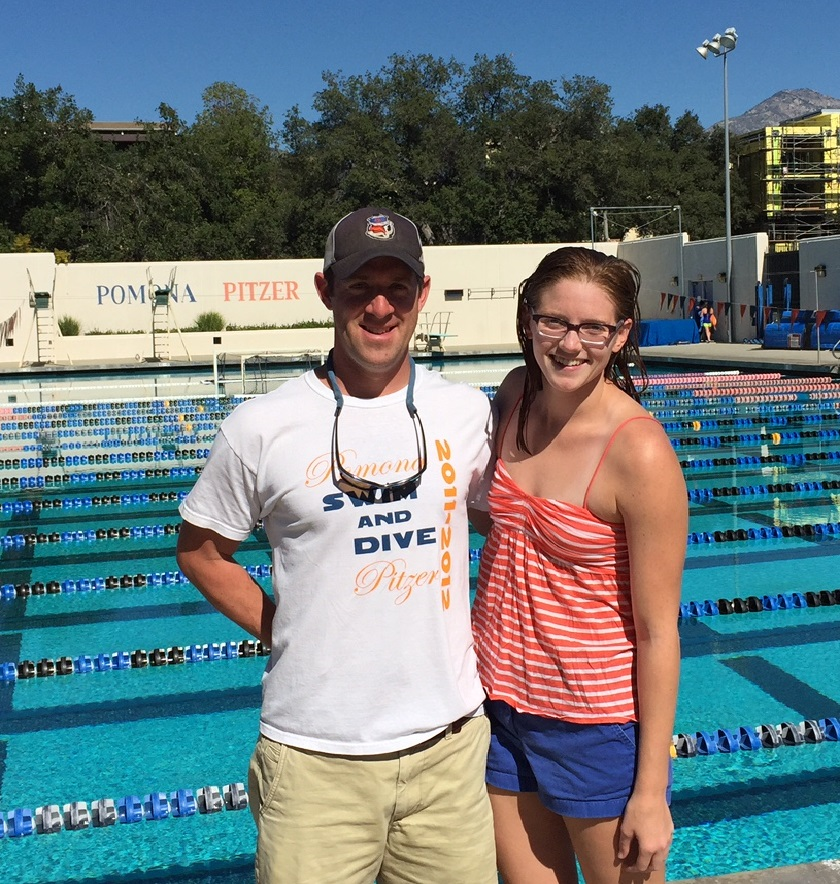 Swimming Coach JP Gowdy with Claire