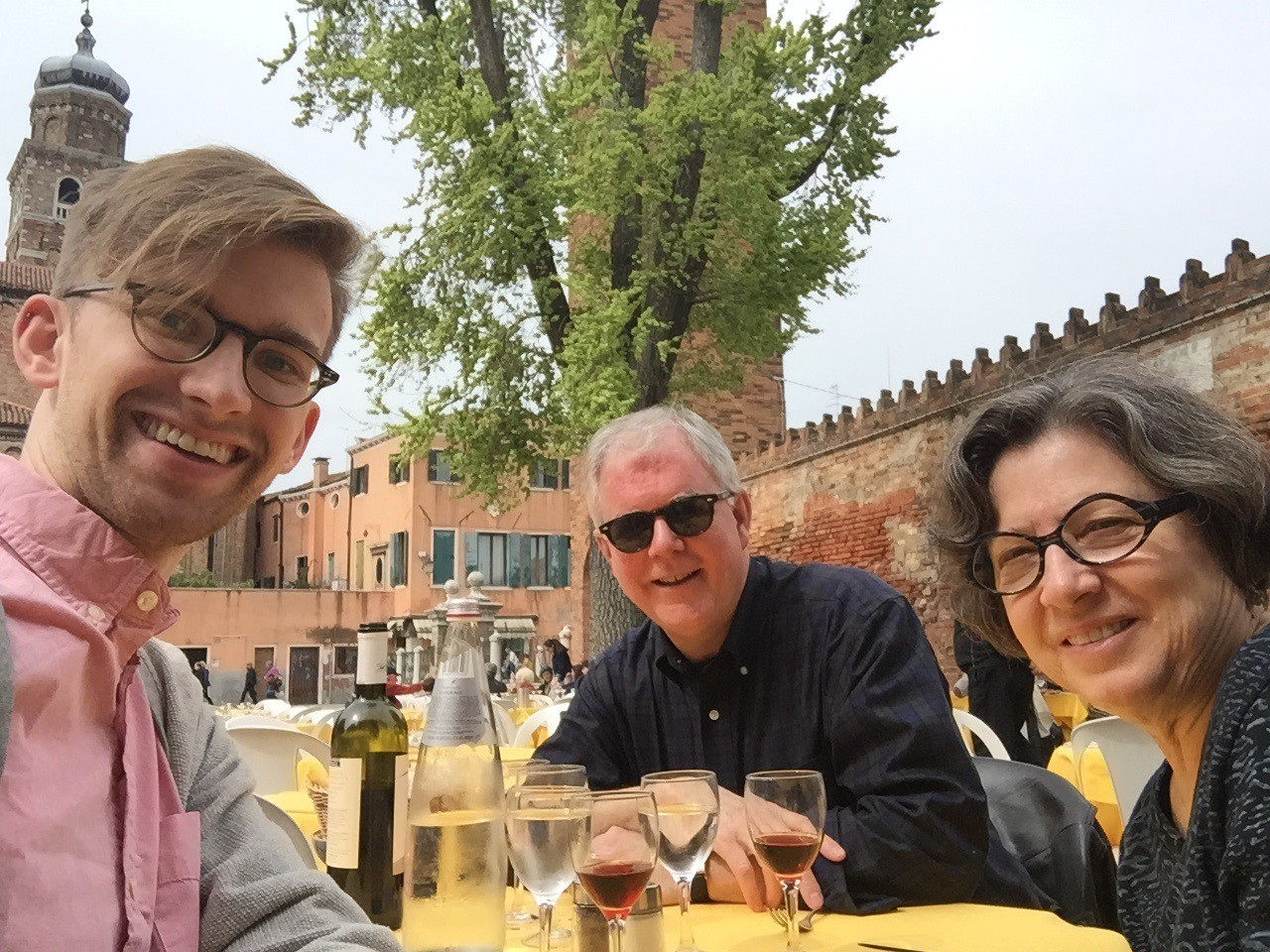 Enjoying lunch with Andrew and Candice in Murano