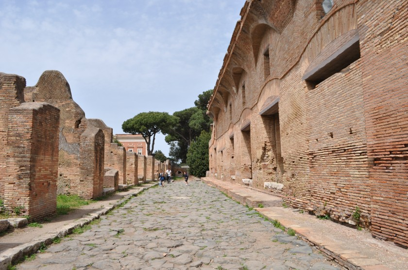 Excavated street and buildings