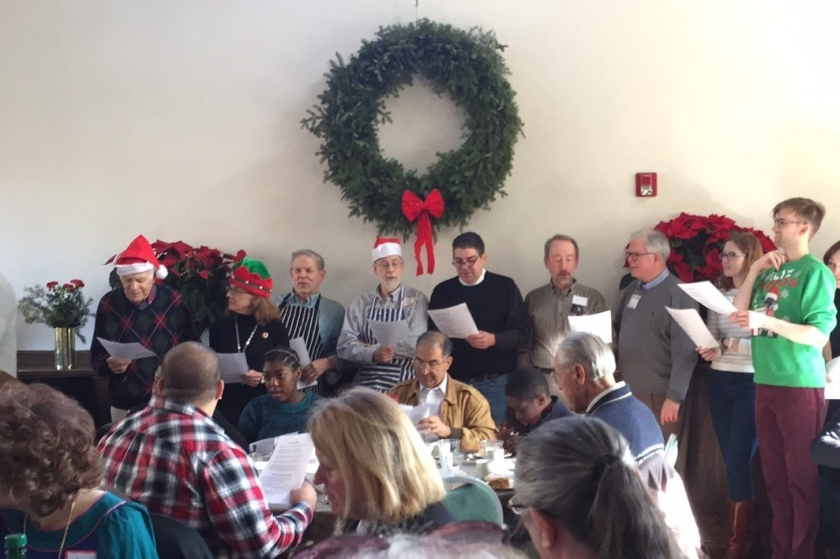 Singing at Christmas Day Dinner