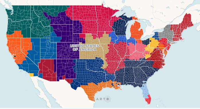 MLB Fan map