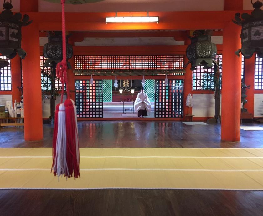 Prayers at the Itsukushima shrine